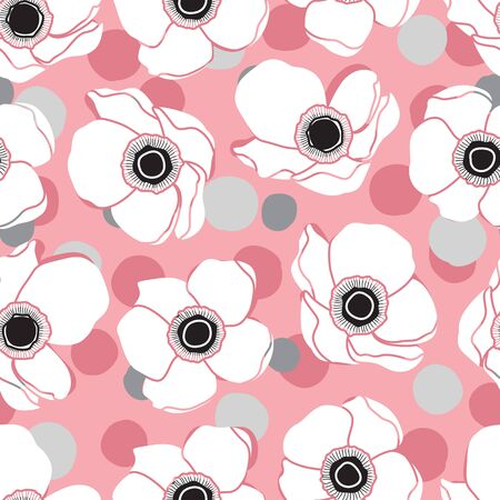 White Anemone Flower Design Pattern on Pink Background and Confetti. Beauty in Nature