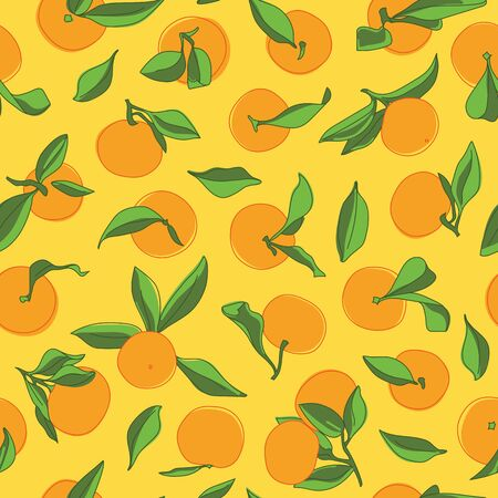 Tangerine Colorful Vector Drawing Seamless Pattern on Yellow