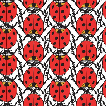 Bright Red Ladybug Beetle Coccinellidae Design Seamless Pattern on White Background