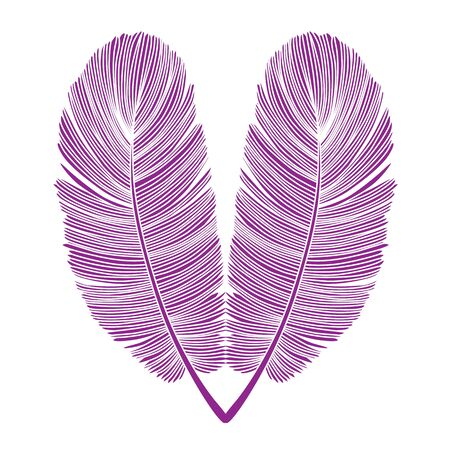 Detailed and Delicate Purple Feather Heart Isolated Design on White Illustration
