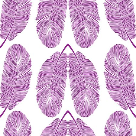 Purple Detailed Feather Hearts Vector Seamless Pattern on White Illustration