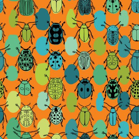 Bright Colorful Beetle Design Seamless Pattern on Orange Background. Happy Insect Doodle Design
