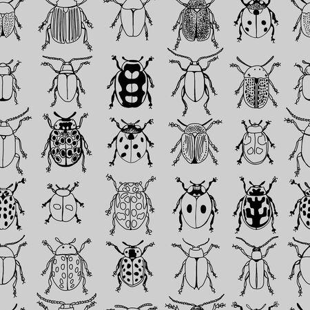 Monotone Beetles Black Linework Doodle Design Seamless Pattern on Grey Background