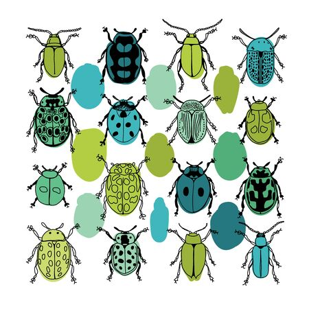 Bright Colorful Beetles and Dots Design for Kids on White Background