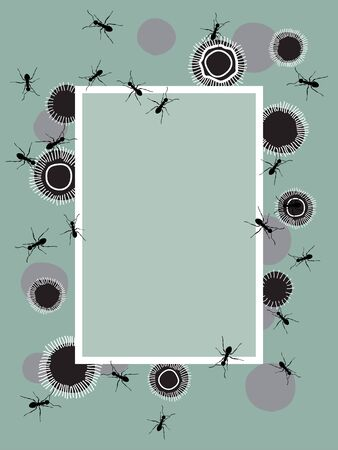Abstract Ant Vector Design Frame on Mint. Template for invitation or greeting card