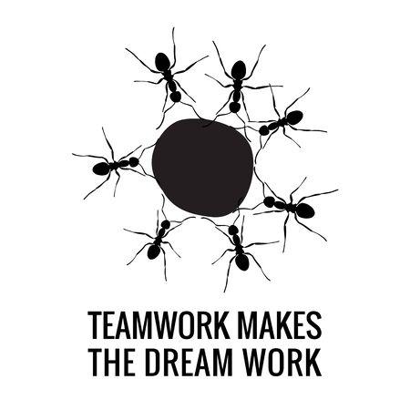 Teamwork Makes the Dream Work Design. Isolated Black on White