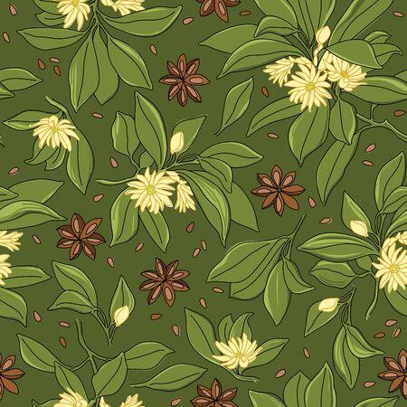 Illicium Anisatum. Star Anise Vector Line Seamless Pattern Design on Green