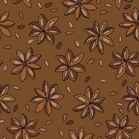Illicium Anisatum. Star Anise Pods and Seeds Vector Seamless Pattern Design Illustration