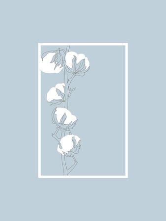 Cotton Branch Line Vector Design on Blue. Delicate Line art in Frame.