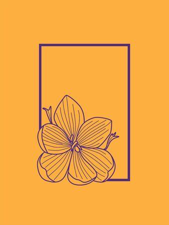 Delicate Purple Crocus Flower Frame Line Drawing on Orange Background. Saffron. Logo. Minimalism 向量圖像