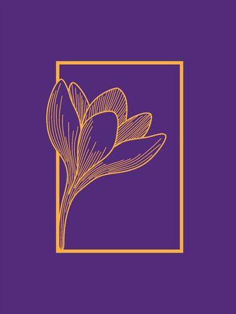 Crocus Flower in Frame Design. Orange on Purple. Minimalist Design