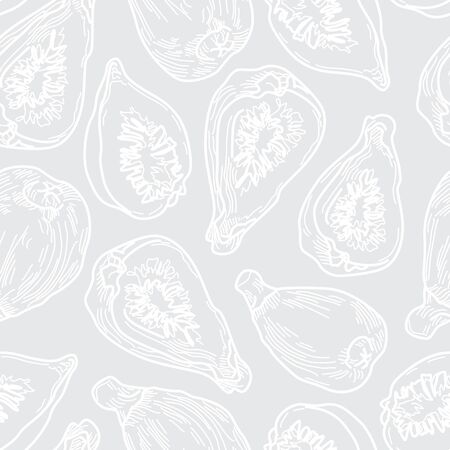 Artistic Fig White Line Drawing Seamless Pattern on Grey Background. Hand-drawn Fruit Design