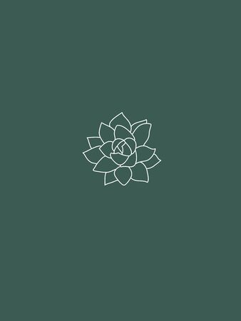 Modern and Minimalist Succulent Echeveria Vector Line Art in White and Mint