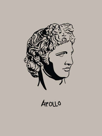 Modern and Minimalist Apollo Vector Art Portrait. Shadow Drawing of Greek God