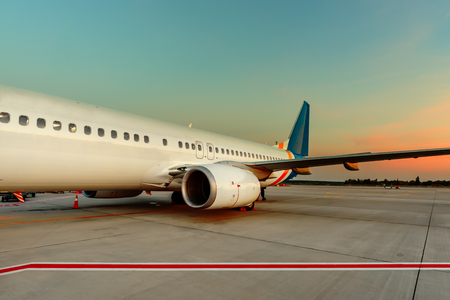 To the passengers services is a modern airport building, quality and qualified service and preparation of aircraft technical maintenance of aircraft Stock Photo
