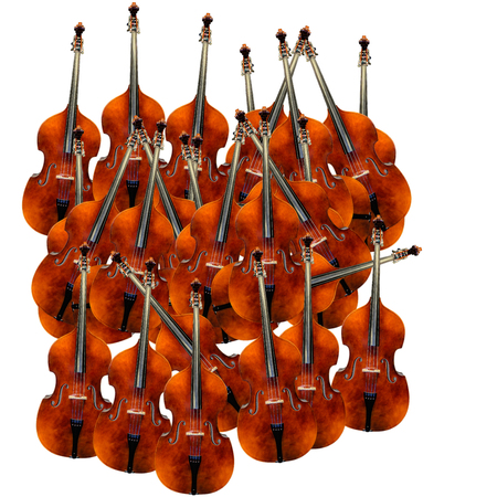 Contrabasses on the white background. are located chaotically.