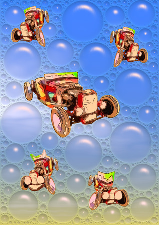 Image of funny cartooned red antique cabriolet in a big blue soap bubbles