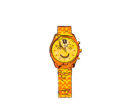 Merry, red - yellow, gold wristwatch with eyes, smile, arrows and bracelet. Time is five to twelve.