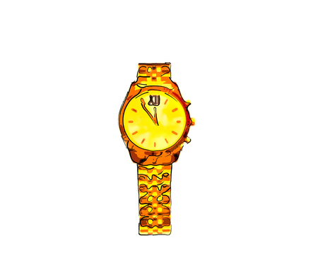 Funny, red - yellow, gold wristwatch with arrows and bracelet. Time is five to twelve.