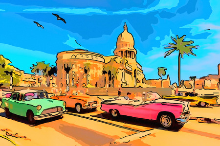 Vacation in the tropics on an island in Cuban Havana with a trip on retro cars near the Capitol with green palms.