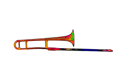 Poster cartoon illustration image of a funny, color green, yellow, red trumpet, trombone on a white background Banco de Imagens
