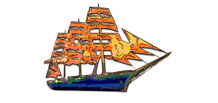 Illustration of a beautiful multi-colored sailing vessel with yellow and red sails on a white background