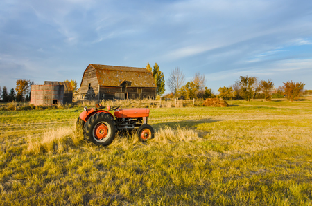 a red tractor on the grass of a green field, near an old hut and a grain barn with a wooden hedge and a haystack. Trees and blue sky in the background. Stockfoto