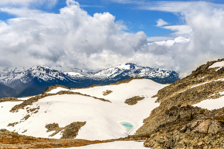 view from above on an emerald lake in the rocky mountains, on white snow. Blue sky and clouds in the background