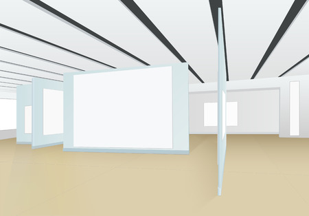 3D panorama of empty hall of the picture gallery with boards for paintings, photographs and other exhibits, white isolated places for pictures, the striped ceiling and shadows on a brown floor