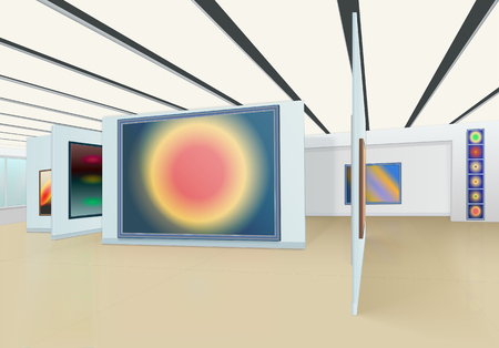 abstract painting hanging on the wall and stands in the art gallery with suspension ceiling Ilustrace