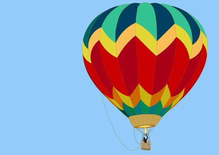balloon with a basket and a flame from a burner, hovers in a blue sky
