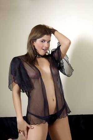 sheer lingerie: Girl in black lingerie