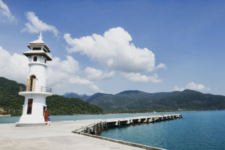 chang: Koh Chang lighthouse on pier Stock Photo