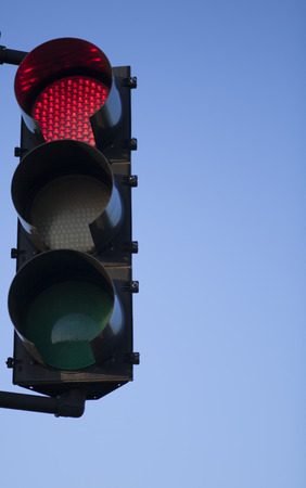 Traffic signal with red light illuminated