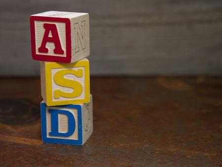 inclusion: Autism Spectrum Disorder (ASD) alphabet blocks Stock Photo
