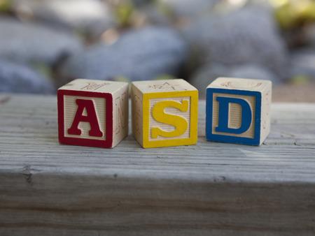 Autism Spectrum Disorder (ASD) alphabet blocks Stock Photo