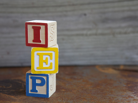 special education: Individualized Education Plan (IEP) alphabet blocks
