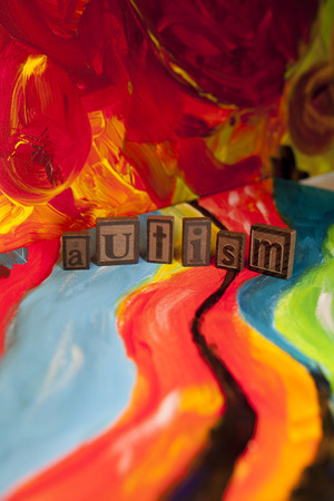 Autism blocks on canvas Stock Photo