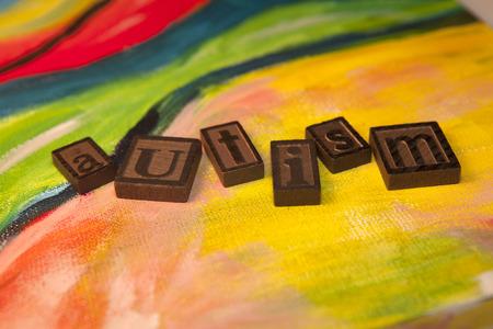 Autism blocks on canvas Stock fotó