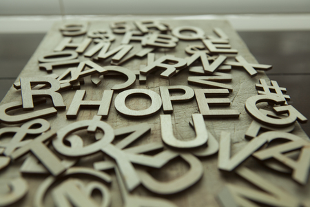 Hope spelled in wood letters Stock Photo