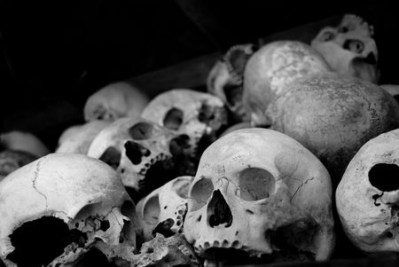 place of interest: many skull in a cambodia museum named killing field