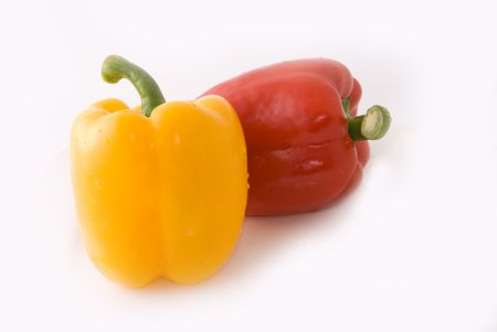 Big pimiento on white background, very lovely color and shape photo