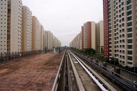 railway transportation: Light railway transportation operated in Singapore Stock Photo