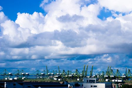 hoists: Great harbor view with blue sky and white clouds