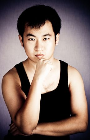 Strong and healthy asian male body part with black waist Stock Photo - 3333626
