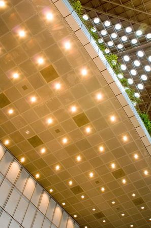 The design of ceiling lighting in a modern building Stock Photo