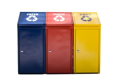 recycle bins in blue yellow and red