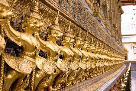 Golden budda statue in grand palace of bangkok Stock Photo