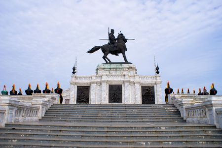 ourdoor: Man riding horse for war scuplture in thailand monument