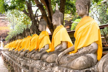 Pray buddha in ancient city of thailand photo